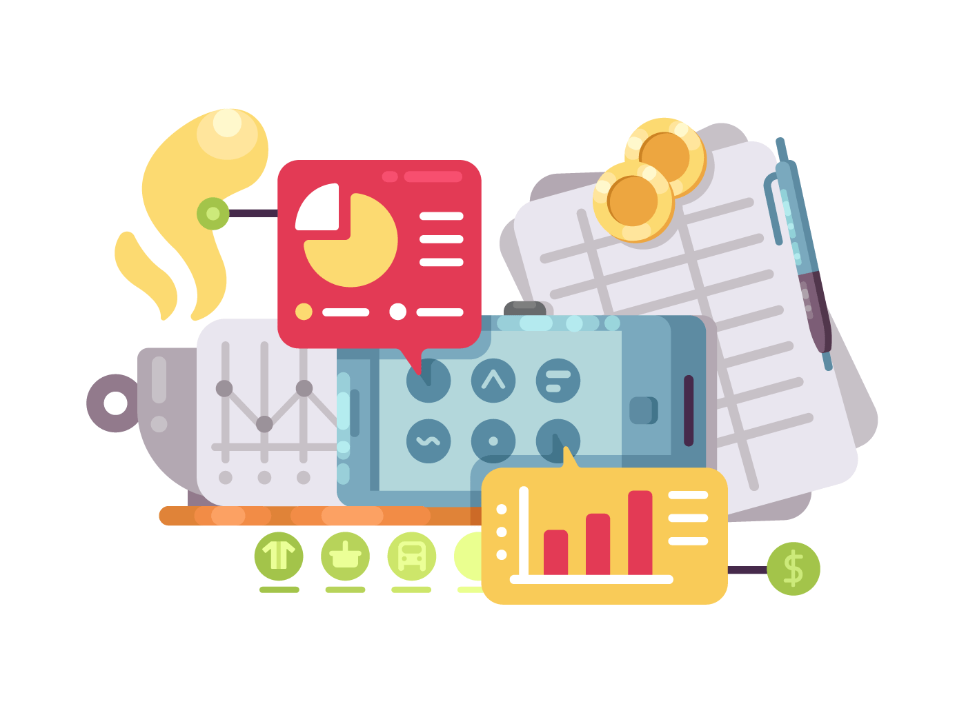 Business intelligence and analysis illustration
