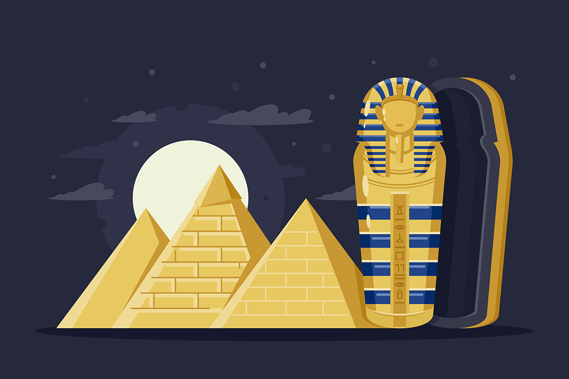 Flat night ancient Egypt with pyramids, moon and Pharaoh s sarcophagus.