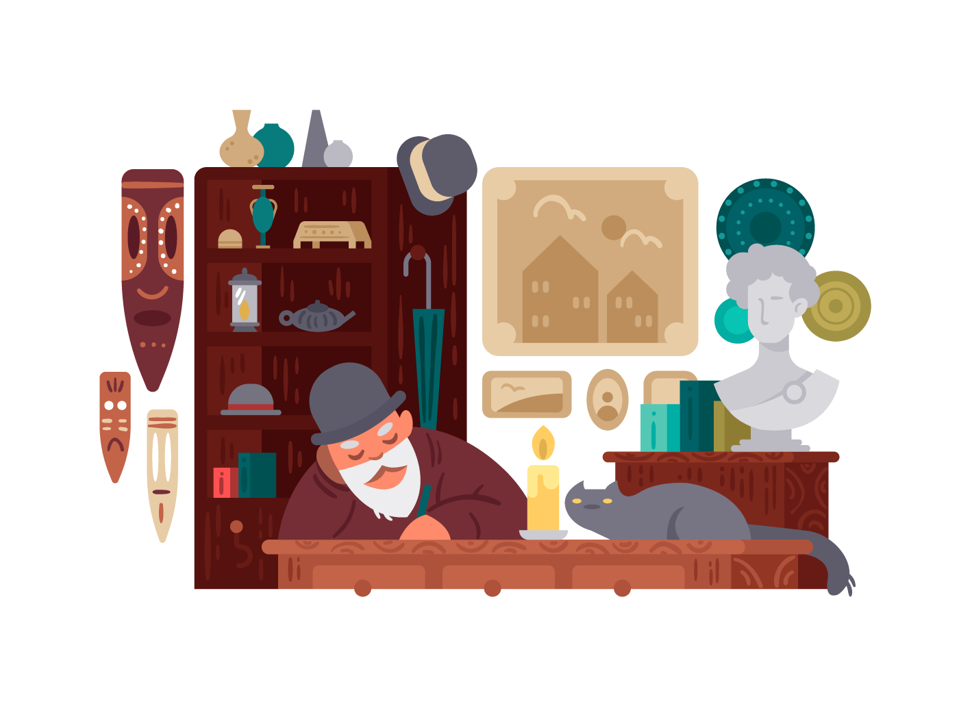 Seller antique shop illustration