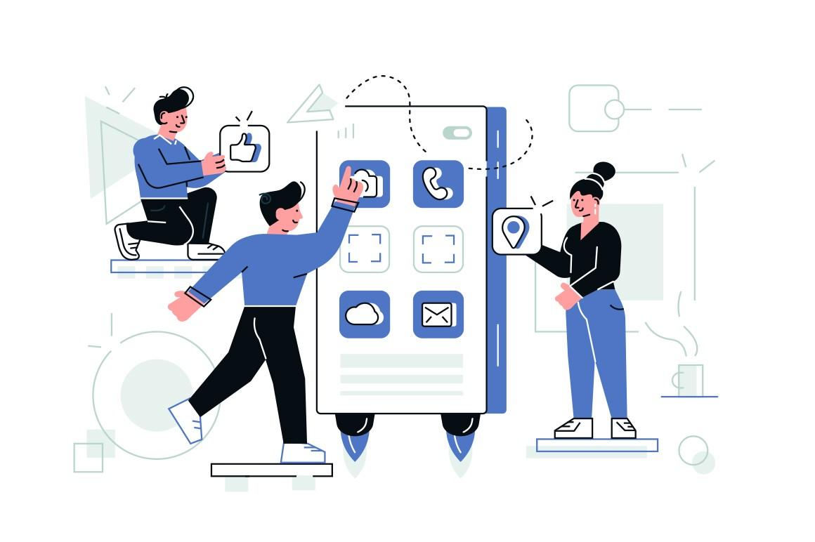 Designers creating internet application vector illustration. Development team standing at big smartphone and designing web app. Steps of creation website for social network