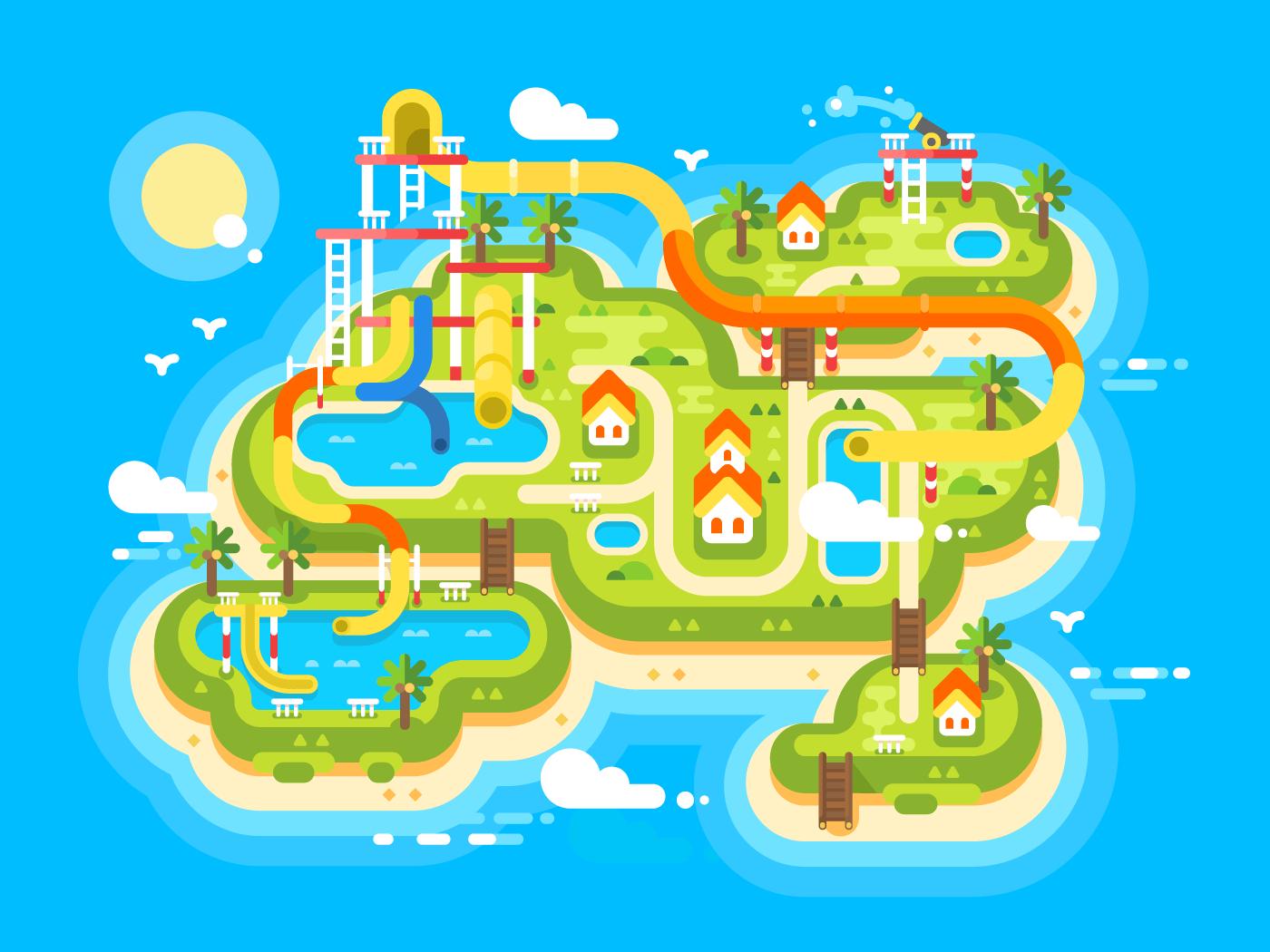Aquapark plan flat vector illustration