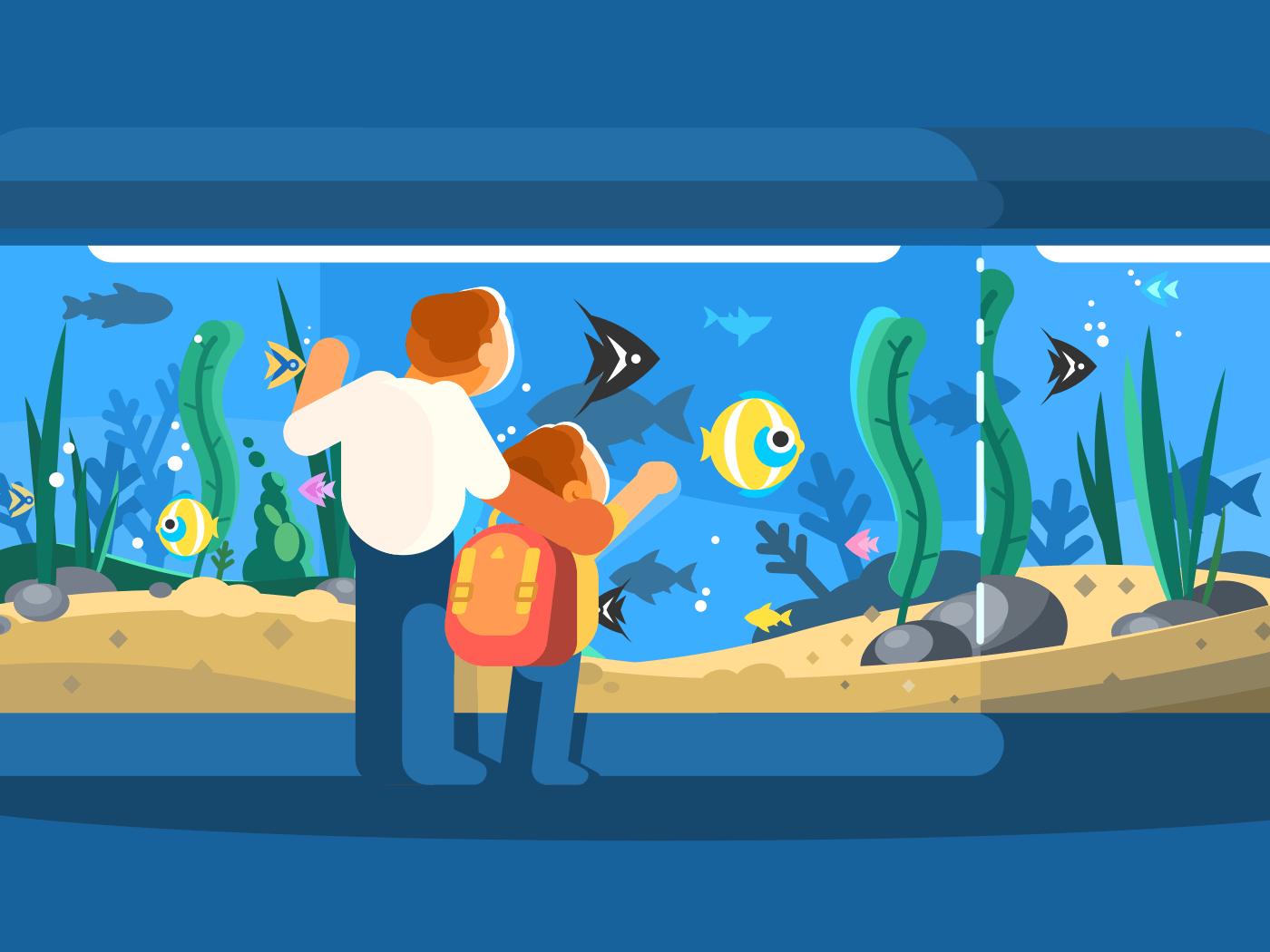 Dad with son in oceanarium. Underwater world fish and seaweed. Vector illustration