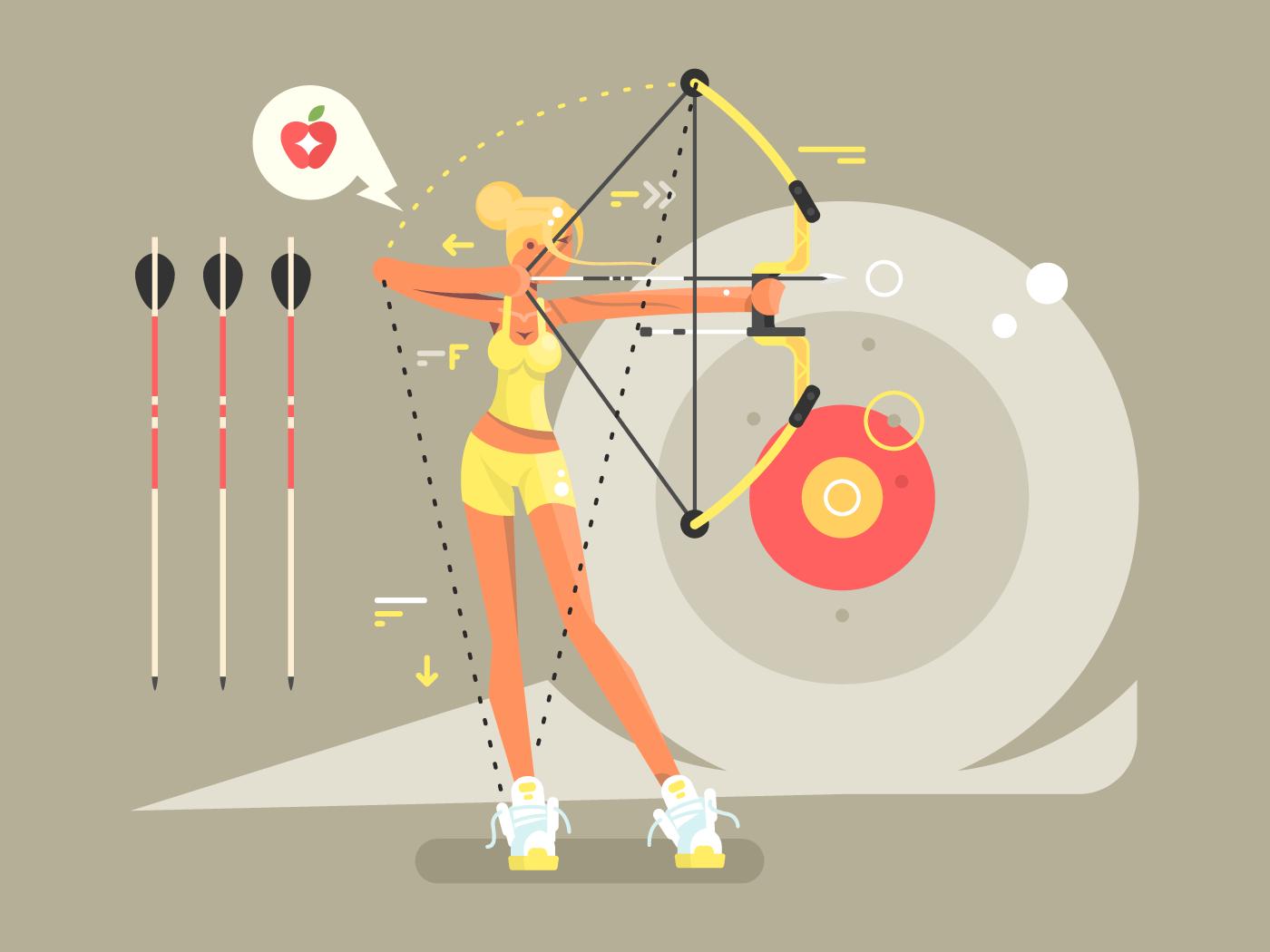Female archer character flat vector illustration