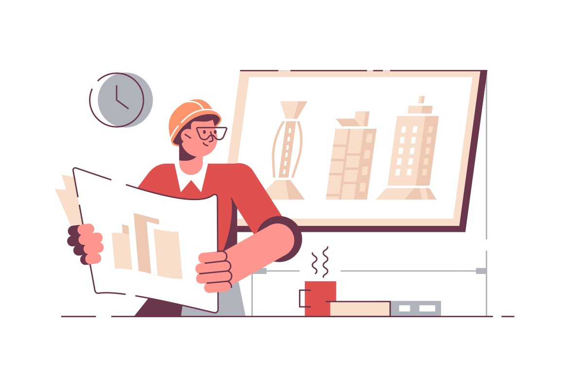 Man architect holding drawing of new project vector illustration. Creator working on plan at workplace flat design. Engineer office and constructor draws project concept. Isolated on white