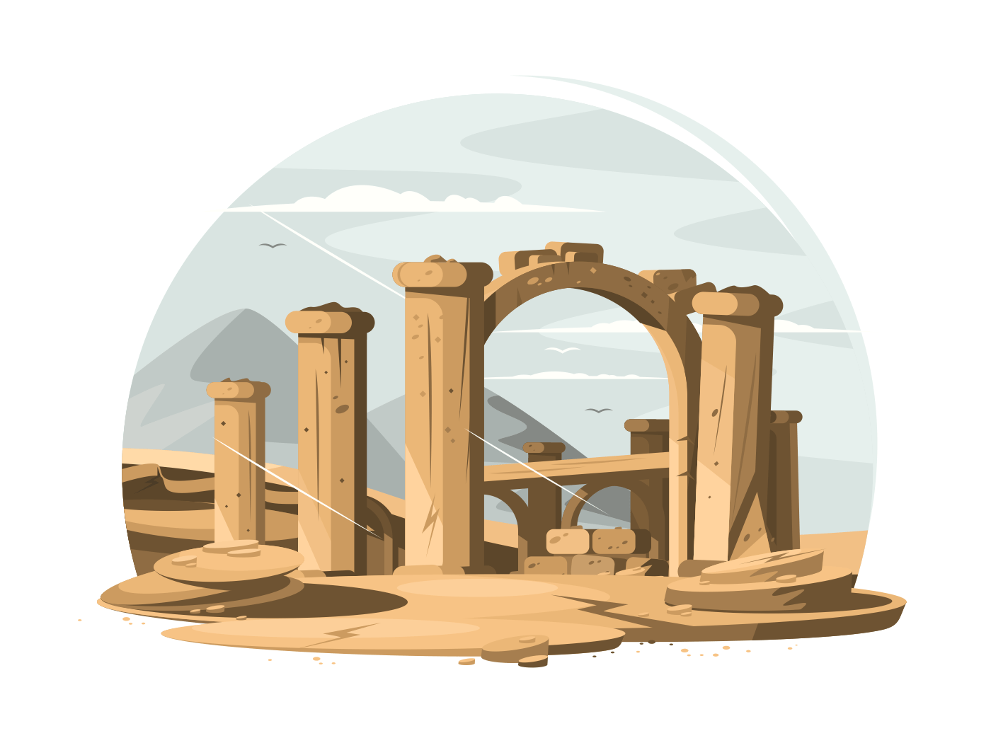 Architectural ruins old illustration