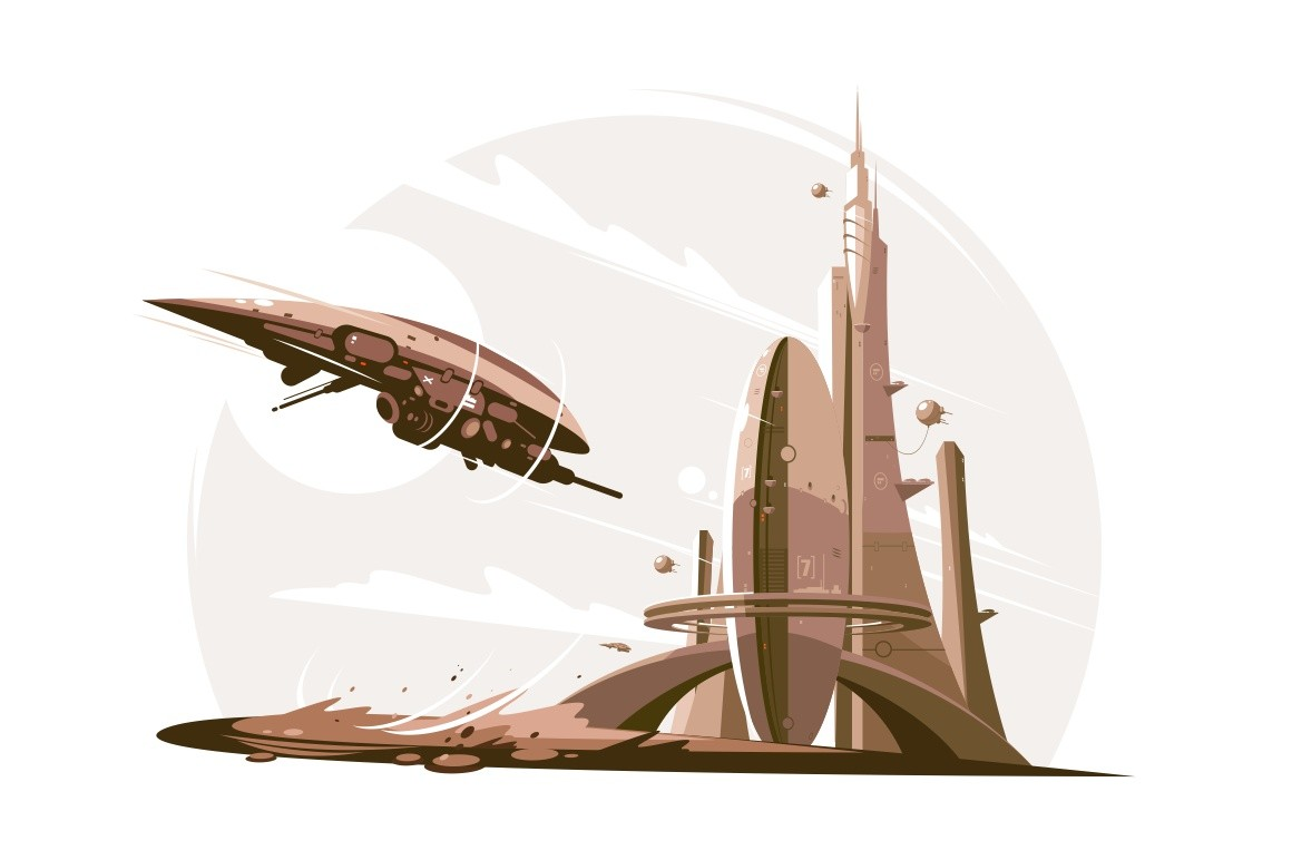 Future architecture and spaceship in air vector illustration. Futuristic skyscraper flat style. Technology and development concept. Isolated on white background
