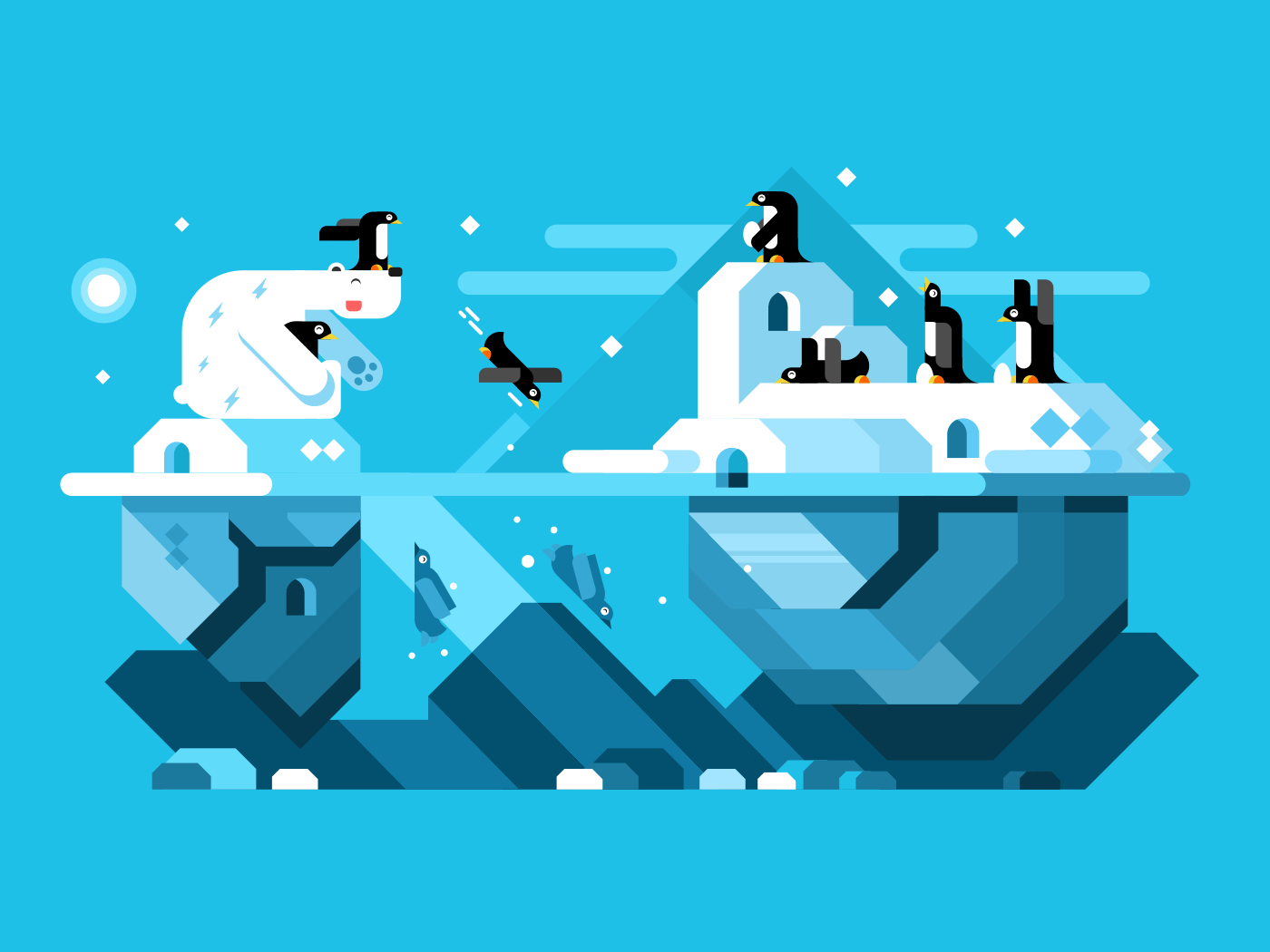 Arctic polar bear with penguins flat vector illustration
