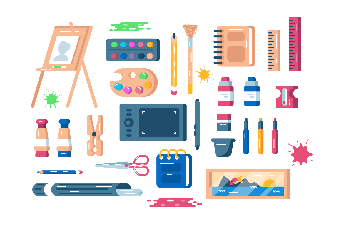Art supplies set vector illustration. Composition consists of easel palette of paints tassels colour pencils sharpener and other equipment and tools flat style concept. Isolated on white