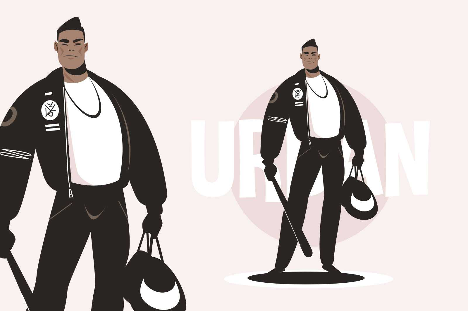 Cool strong asian guy vector illustration. Sporty man in black outfit with bag and baseball bit flat style. Fashion trend concept. Isolated on pink background