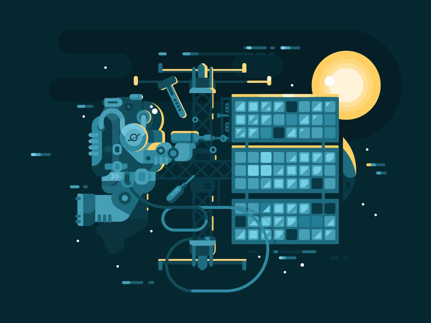 Astronaut repairing in space flat vector illustration