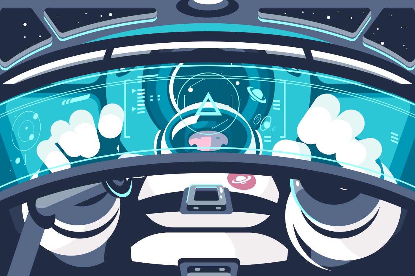 Astronaut in futuristic capsule or container. Human in spaceship outer space. Flat. Vector illustration.