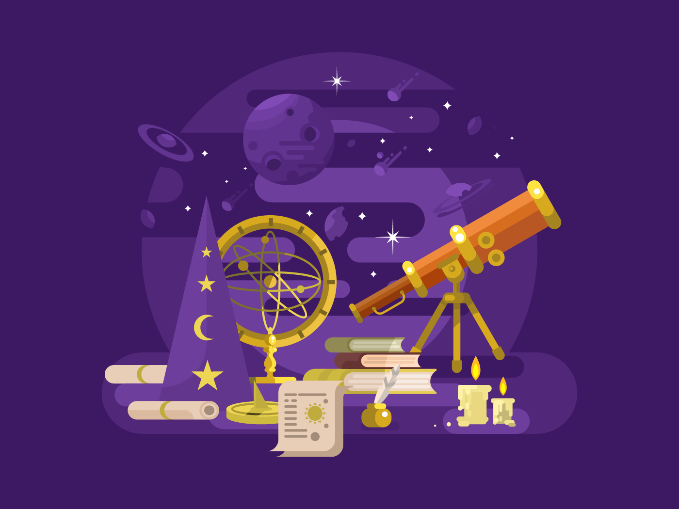 Astronomy design retro flat vector illustration