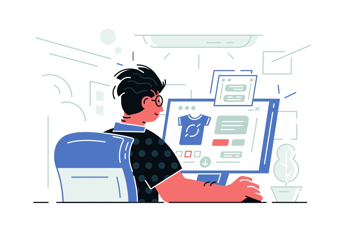 Guy sitting at computer vector illustration. Man working at workplace with pc. Boy making online shopping via special app on website flat style concept