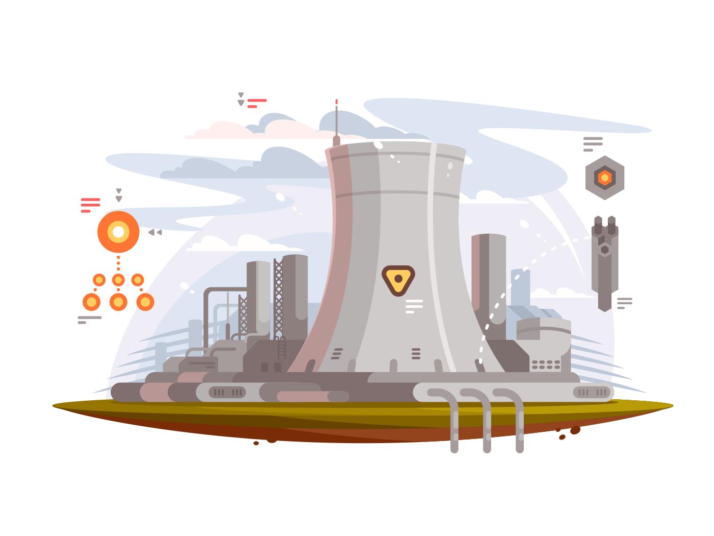 Powerful nuclear reactor illustration