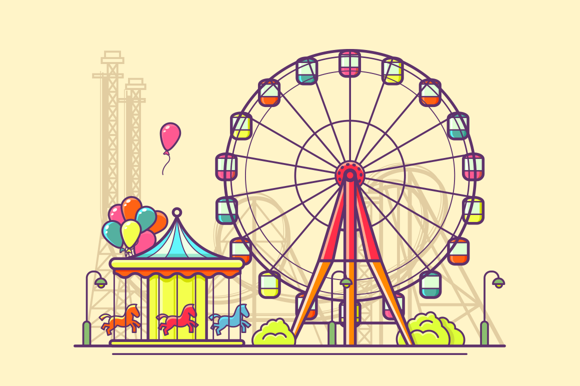Funfair with ferris wheel