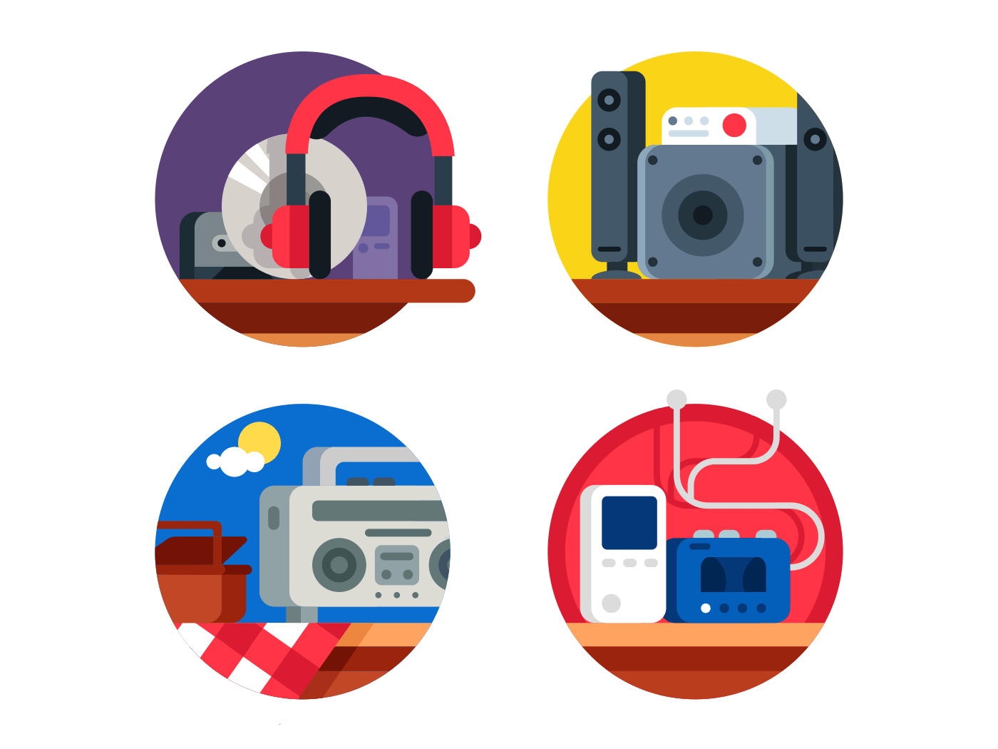 Audio device set icons