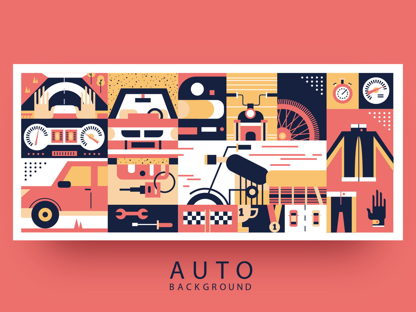 Auto and moto background flat vector illustration