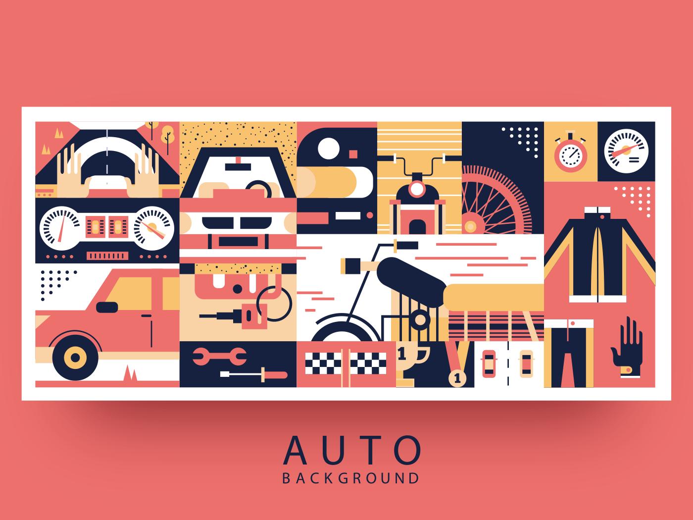 Auto and moto background flat vector illustration
