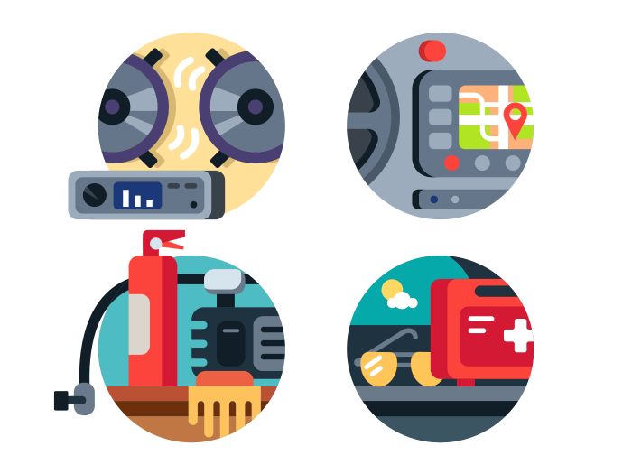 Automotive accessories set icons