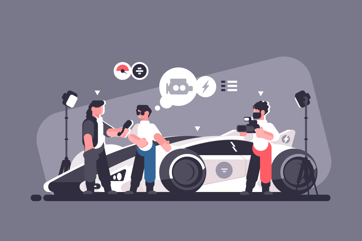 Mass media interview with experts and modern auto review. Man talking about new sport car with journalists vector illustration. Test-drive channel automobile video advertising flat style concept