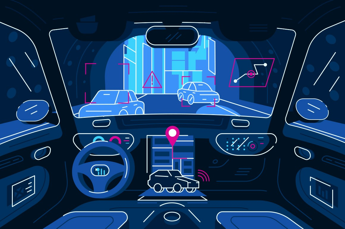 Autonomous car driving in tunnel vector illustration. Smart vehicle with sensing system scanning way observe distance, road users, tracking route and geolocation flat style design. Future concept