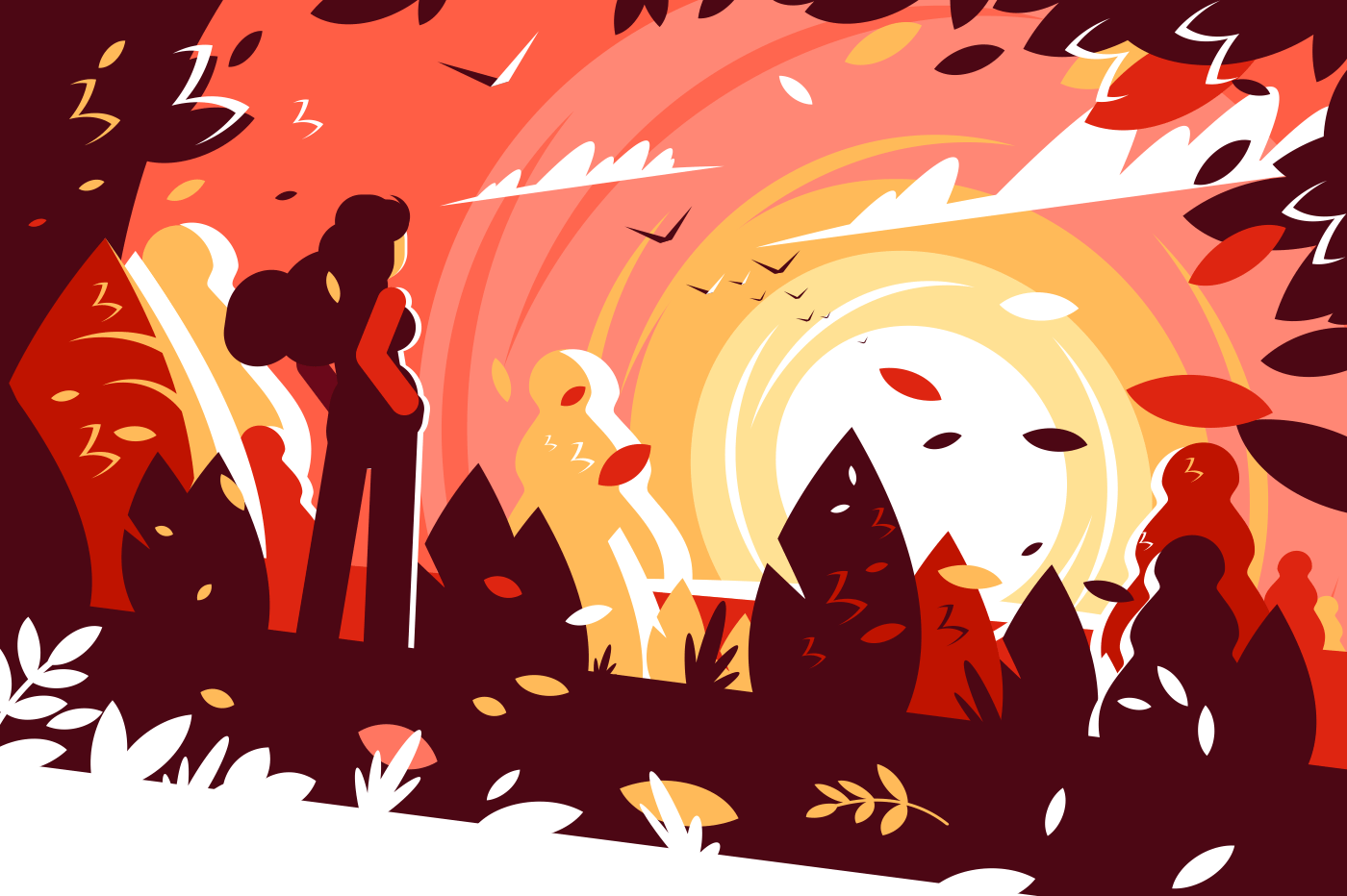 Woman looking sunset autumn landscape background. Girl enjoying the beauty of sunny day. Flat. Vector illustration.