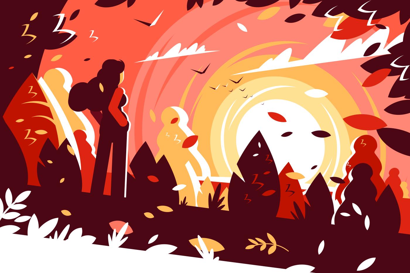Woman looking sunset autumn landscape background. Girl enjoying the beauty of sunny day. Flat. Vector illustration.