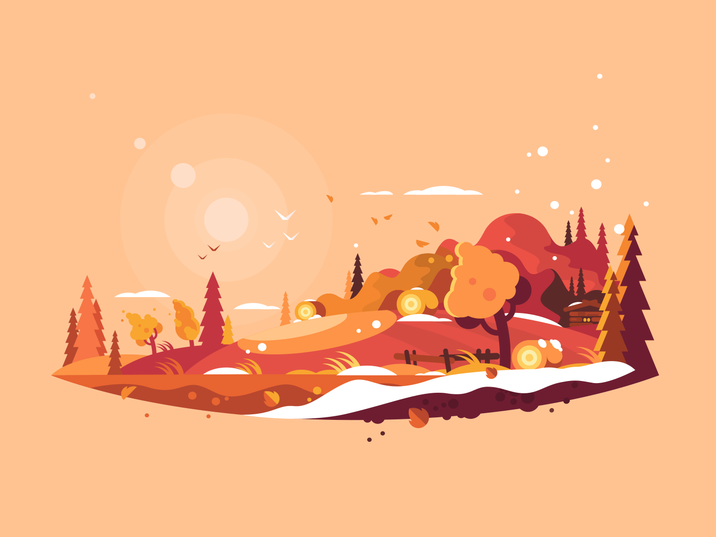 Landscape autumn illustration