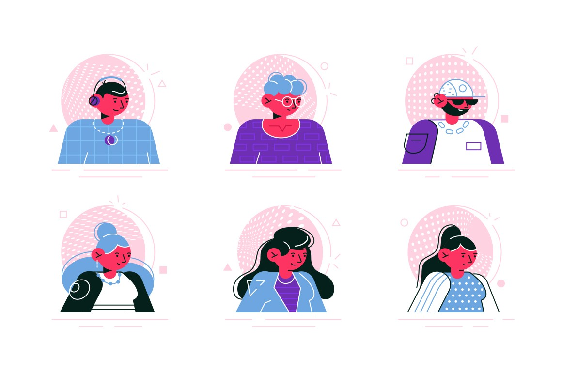 Social media avatars of people icons set vector illustration. Accounts of internet users flat style concept. Collection of man and woman profiles. Isolated on white