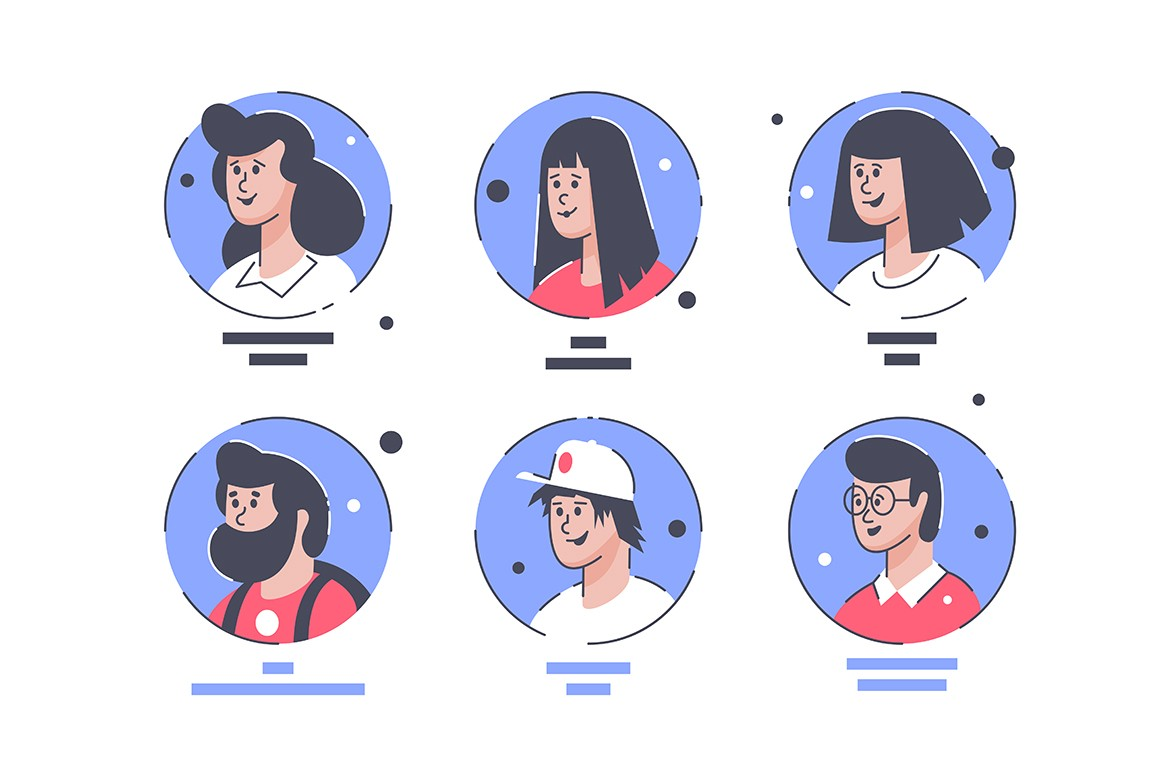 Set icons with people avatars men and women.