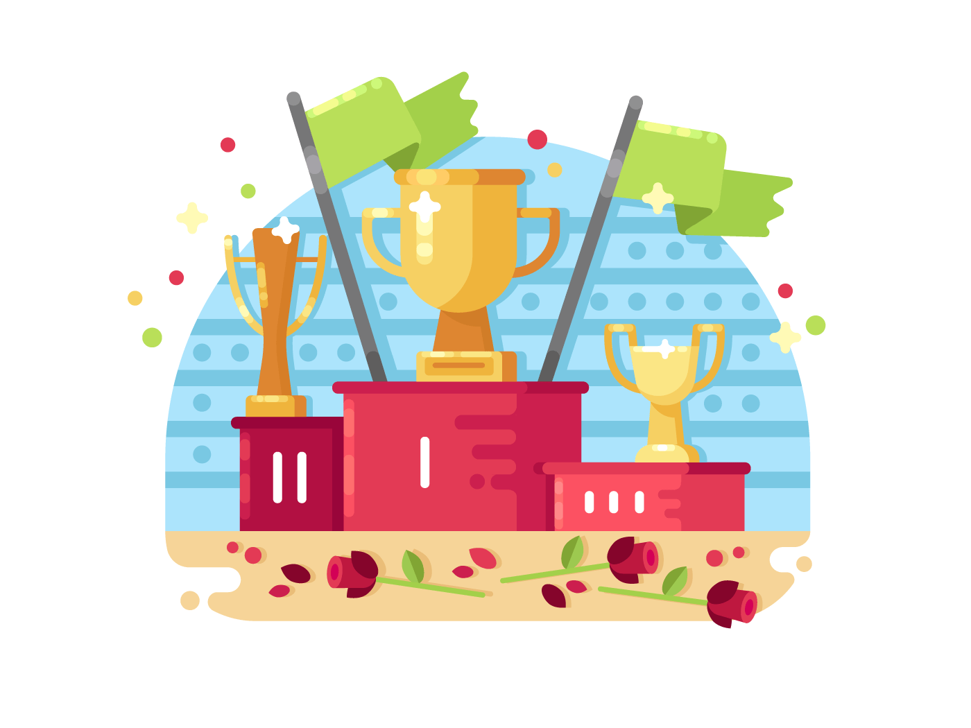 Trophies on podium illustration