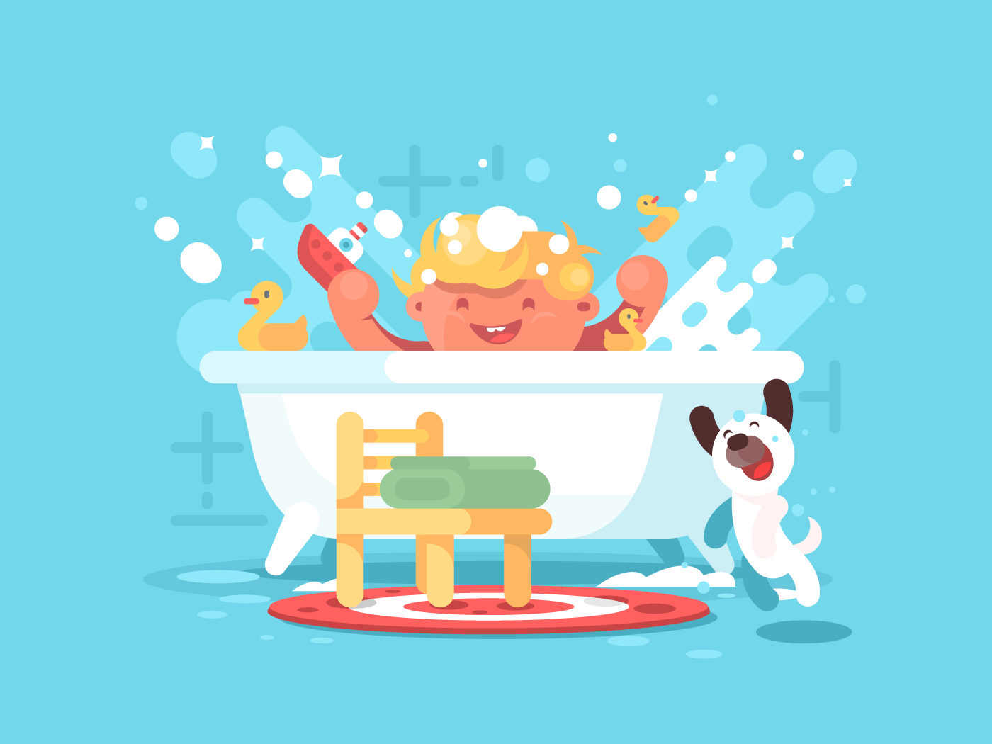 Child plays in bathroom flat vector illustration