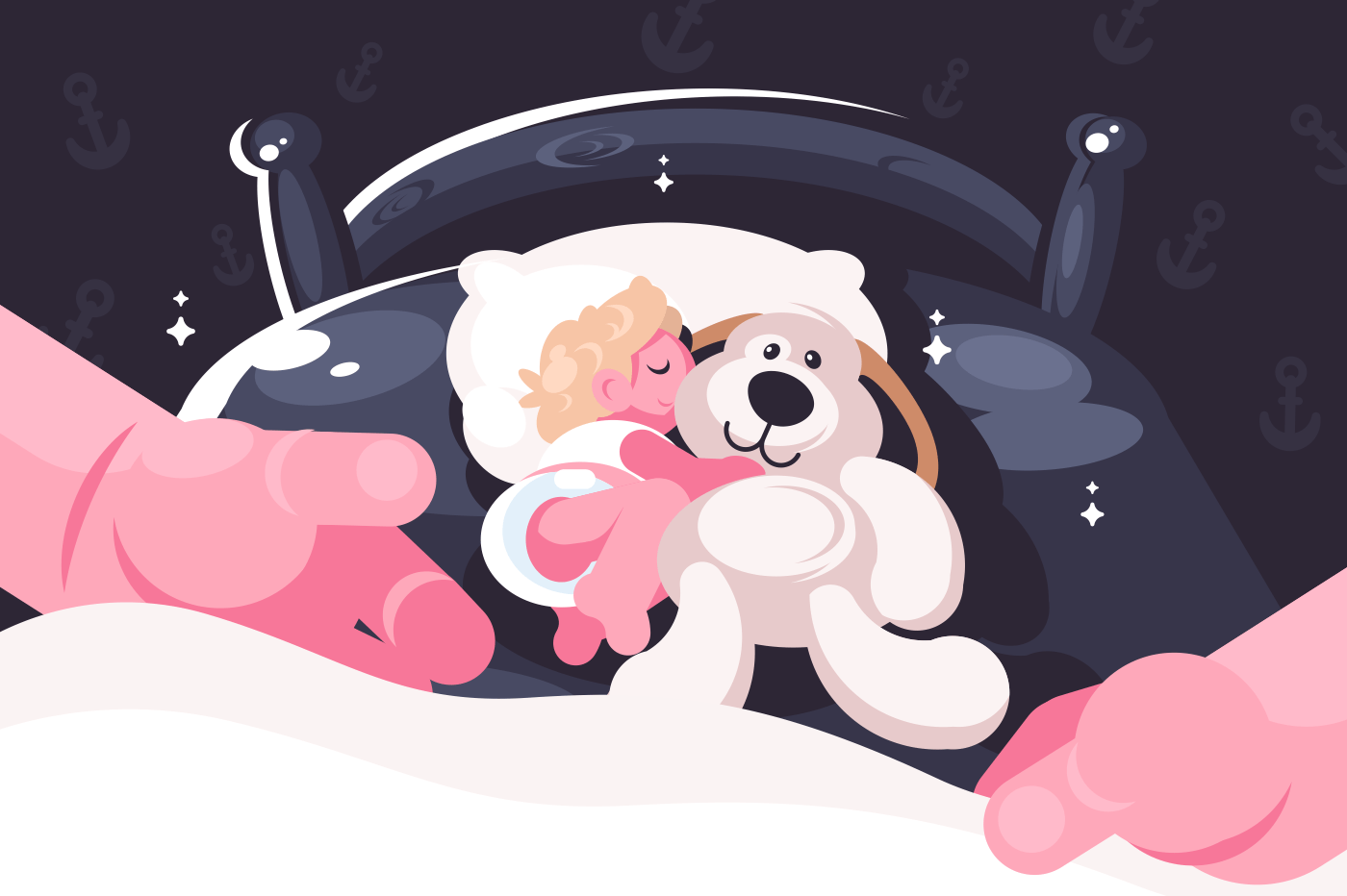 Baby sleeping in crib with toy teddy bear. Hands covering little children. Flat. Vector illustration.