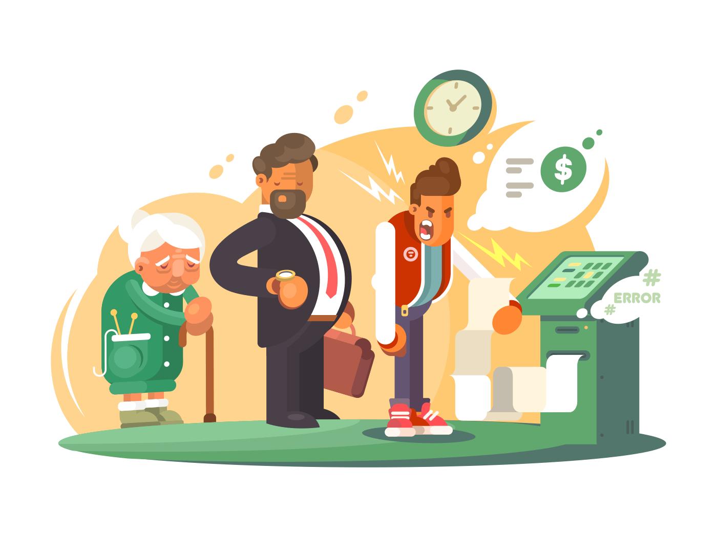 Bad service at bank illustration