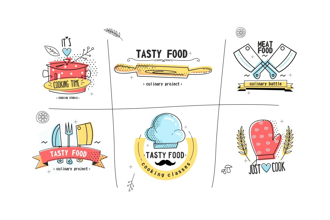 Kitchen icons set vector illustration. Collection of badges cooking time, tasty food, meet food, just cook with kitchenware, cook hat and mitten flat style concept