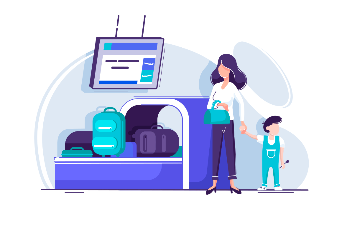Flat young woman with children waiting baggage screening.