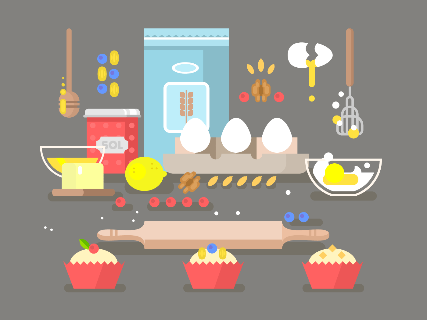 Preparation of baking ingredients flat vector illustration