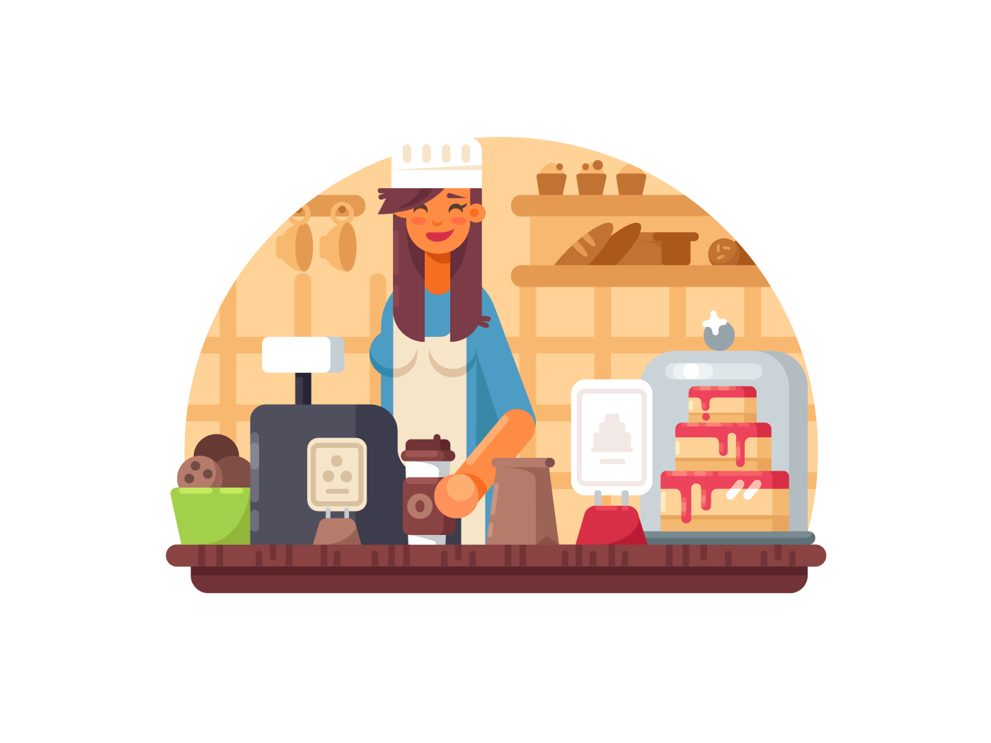 Baker seller woman illustration