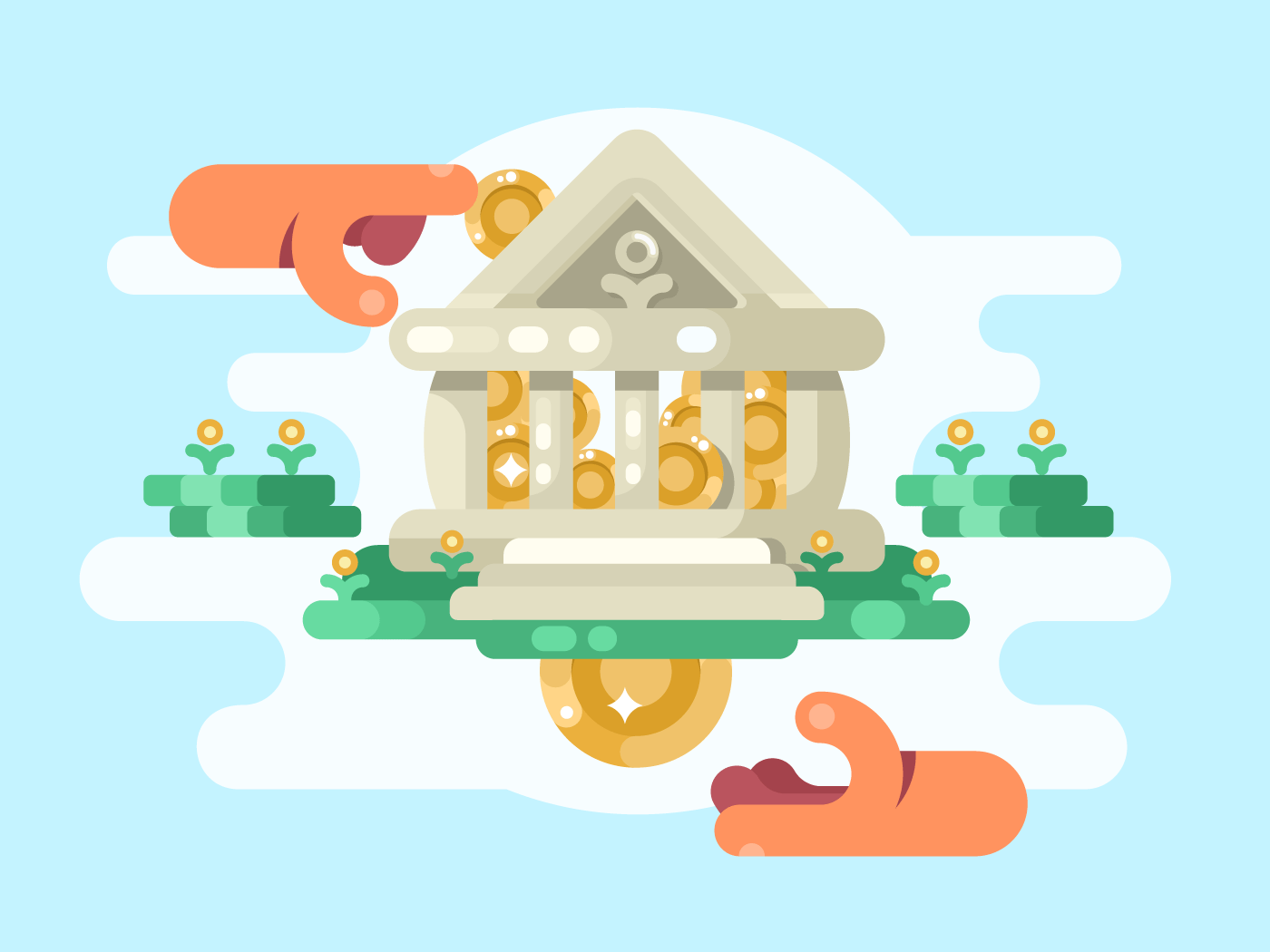 Abstract bank building with coin flat vector illustration