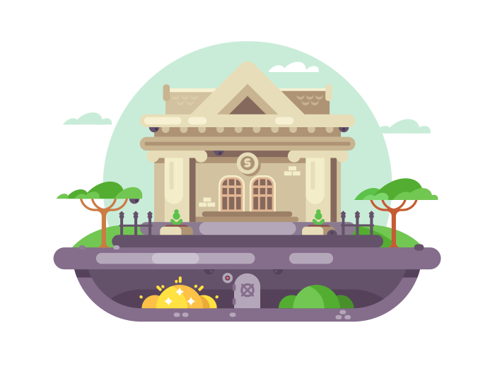 Architectural bank building illustration