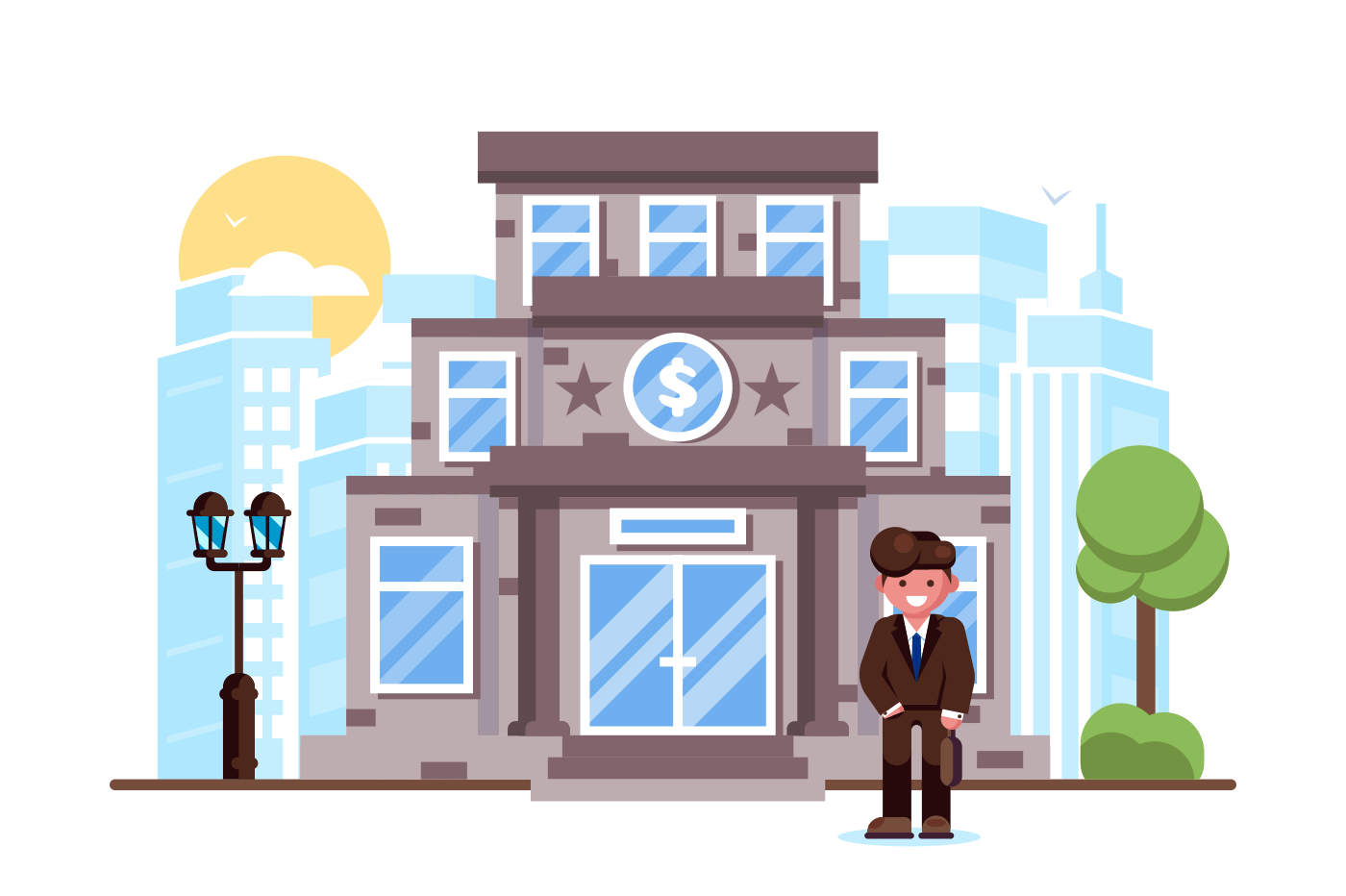 Businessman standing bank building facade exterior. Man financial manager banking investment concept . Flat. Vector illustration.