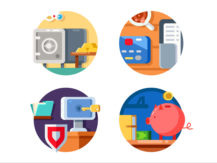 Storage money in bank icons