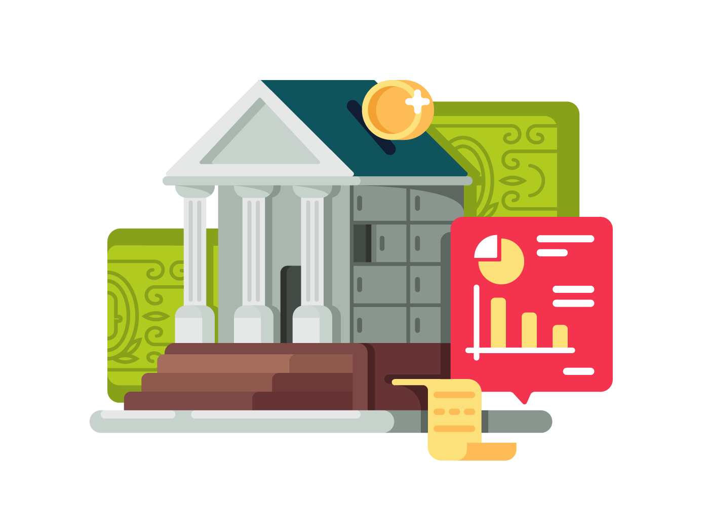 Bank and banking finance illustration