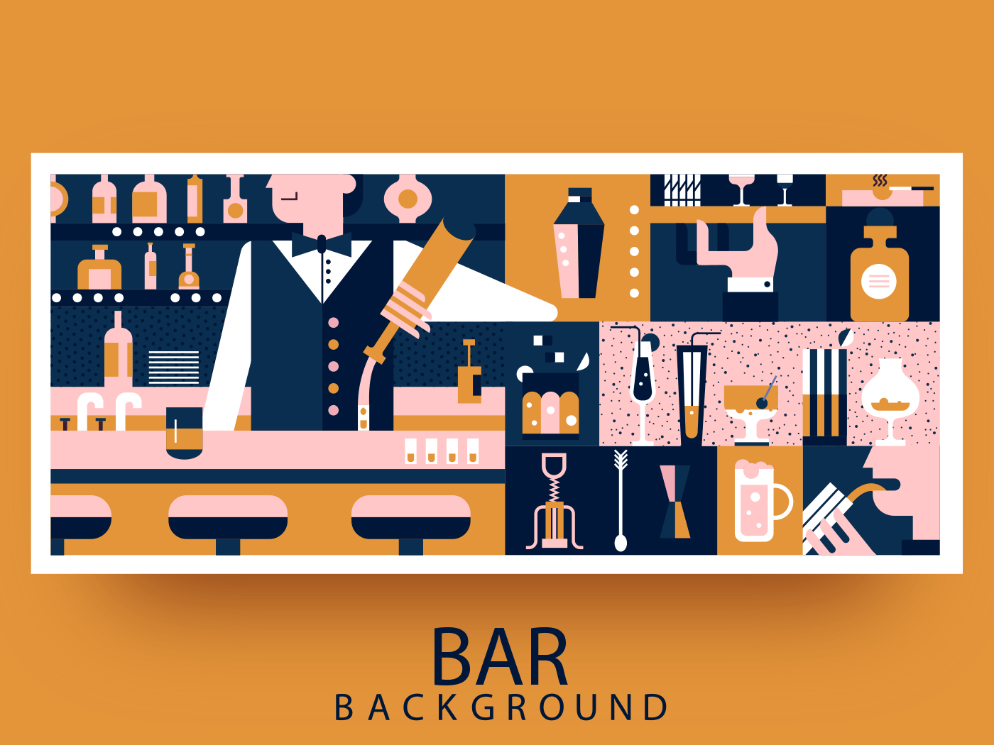 Bar and bartender abstract background