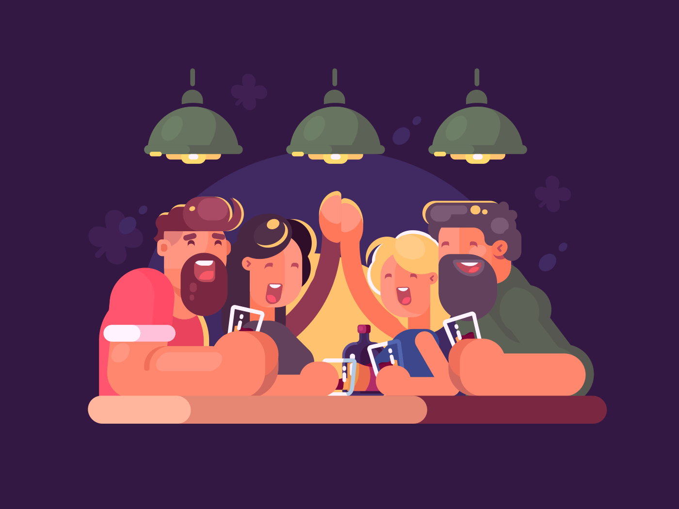 Friends relaxing at bar illustration