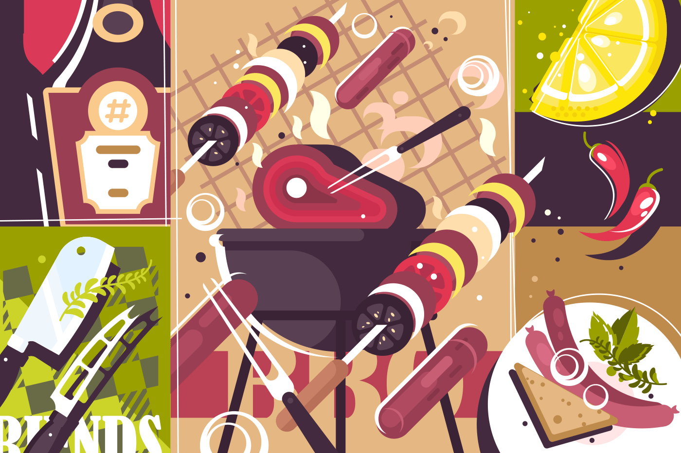 Barbecue abstract background. Meat on grill, cook bbq. Vector illustration