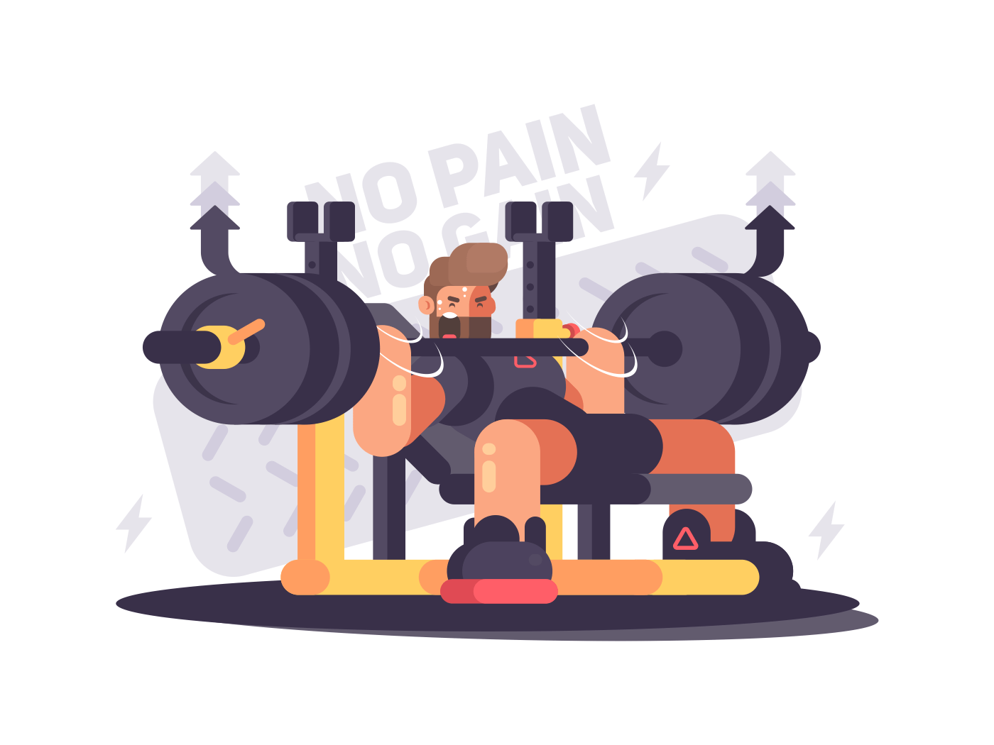 Powerlifting athlete in competitions. Man does bench press. Vector illustration
