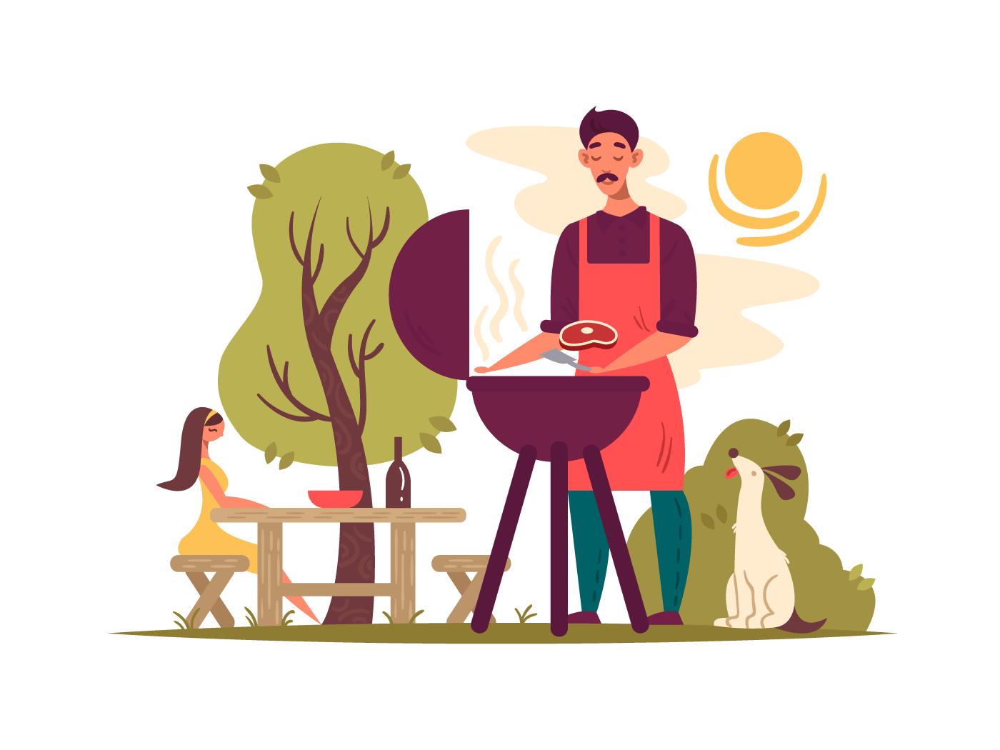Man preparing barbecue on grill illustration