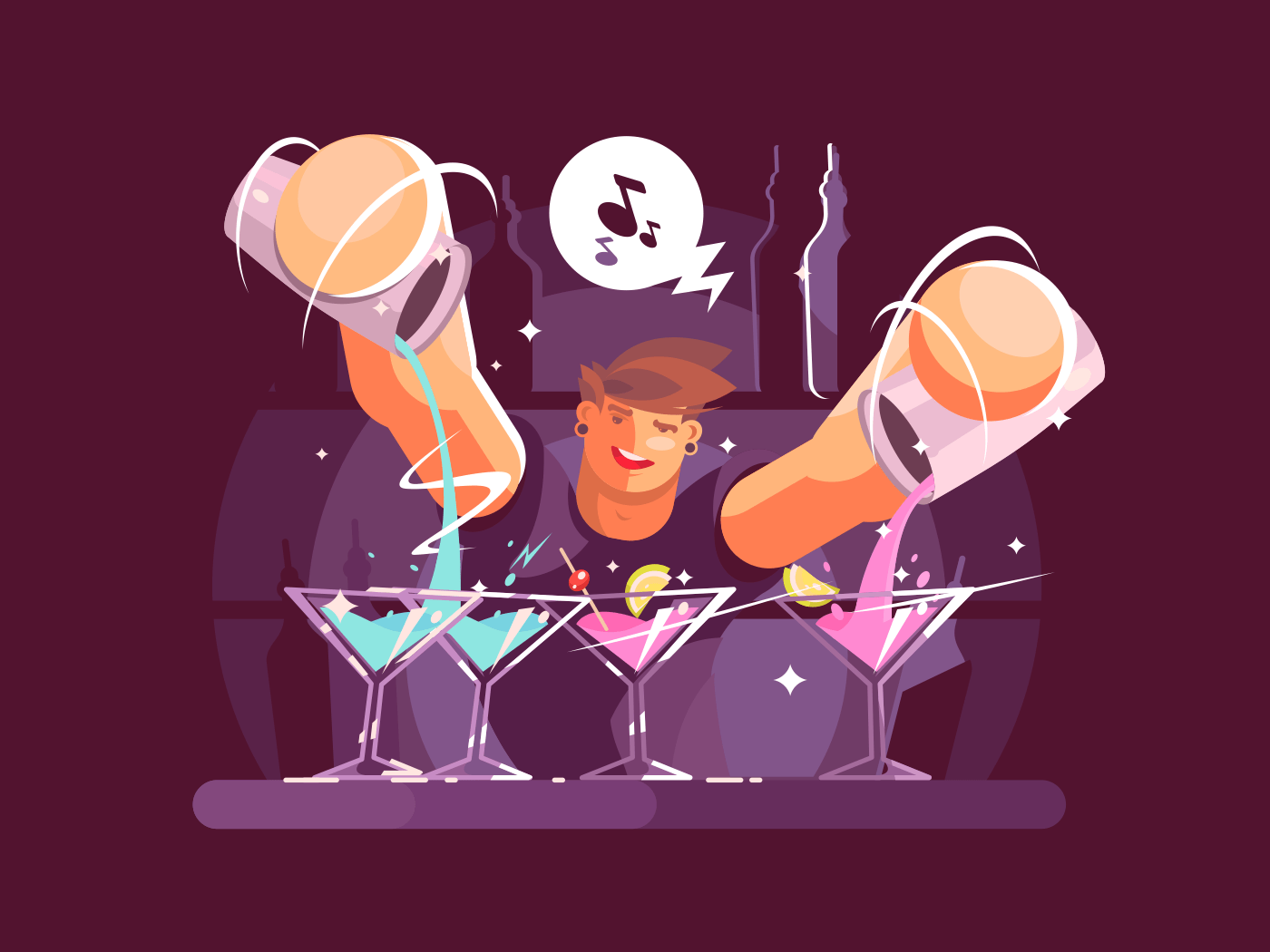 Young bartender pouring drinks illustration