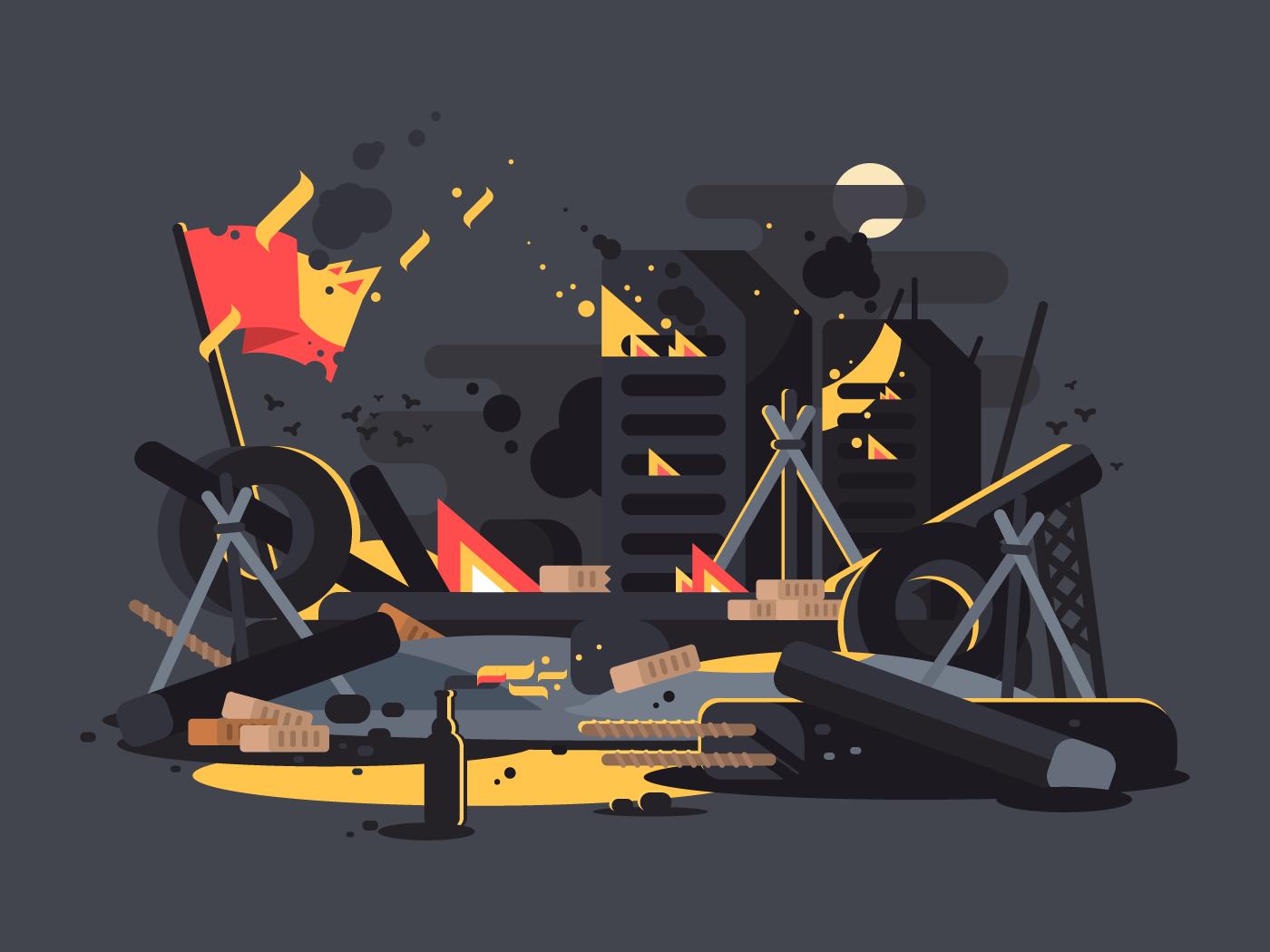 Barricades on fire flat vector illustration